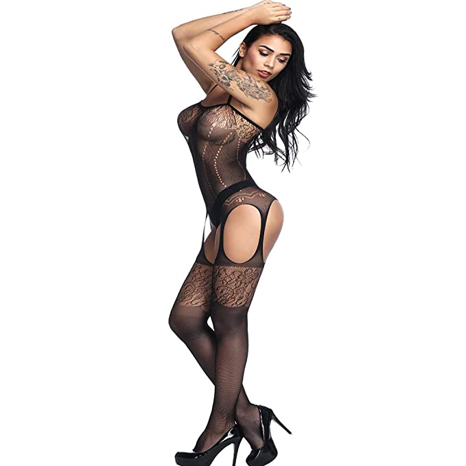 33a86a873cd QueensHot Sexy Sheer Lingerie Babydoll Suspender Corset Nightie Leotard  Body Suit Stocking  Amazon.ca  Clothing   Accessories