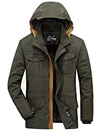 Men's Loose Fit Thicken Medium Long Solid Color Cross Country Style Warm Jacket