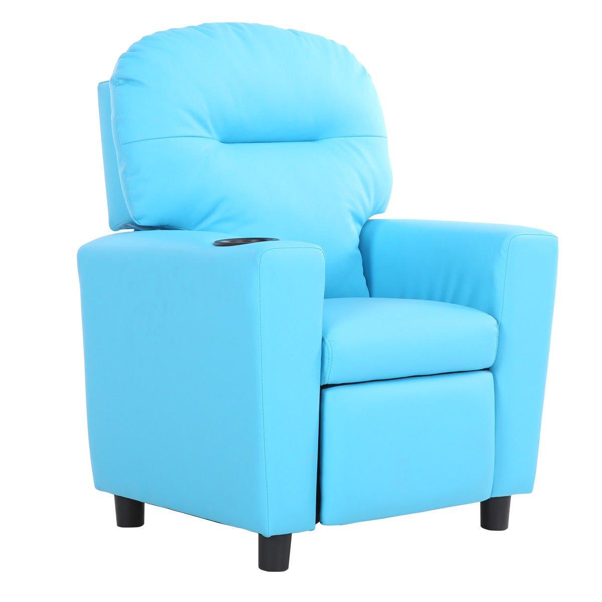 Blue Wood+PU+sponge Kid Armchair With Ebook