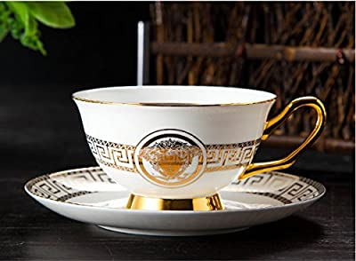 Yosou Home Unique Custom Design Ceramic Coffee Mug and Saucer Set Tea Cup Set Luxury Vintage Style in Gift Box -Gifts