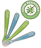 Cuddle Baby Gum-Friendly First Stage Soft Tip Silicone Feeding Spoons for Babies, Great Infant Gift Set (No BPA, lead, phthalate and plastic) Baby Blue/Green