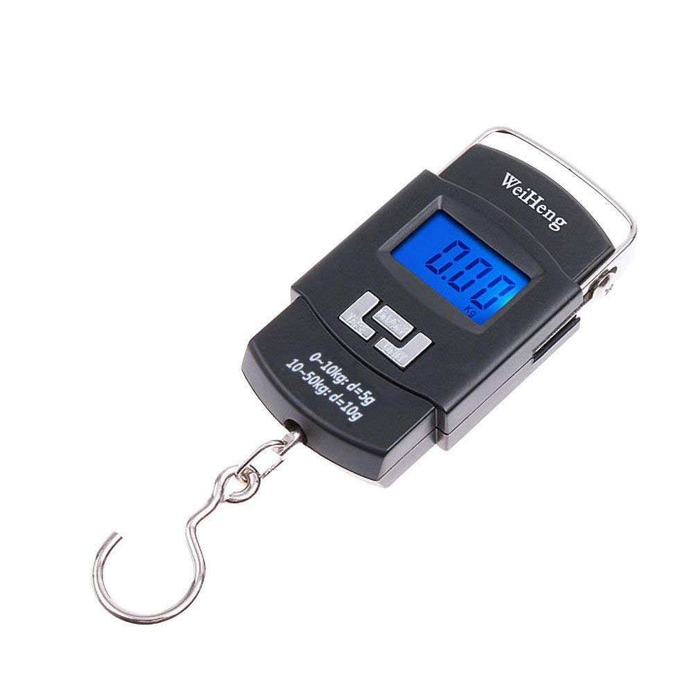 Fishing Scale, 110lb/50kg Backlit LCD Screen Hanging Scale Digital Balance Luggage Hook Hunting Scales for Hunting Fishing Kitchen Fdit