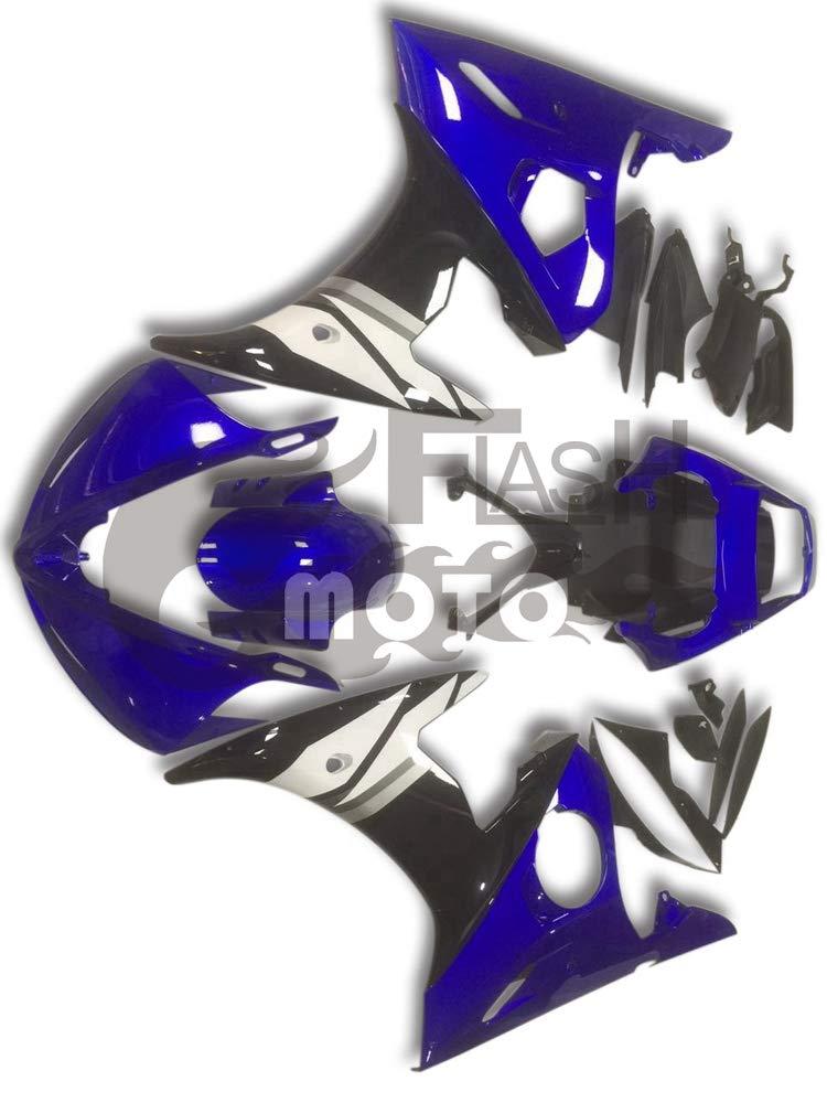 FlashMoto yamaha ヤマハ YZF-600 R6 2005用フェアリング 塗装済 オートバイ用射出成型ABS樹脂ボディワークのフェアリングキットセット (ブルー,ブラック)   B07LF2PCT7
