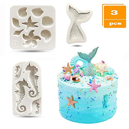 SAKOLLA Mermaid Theme Cake Fondant Mold - Seahorse Seashell Starfish Mermaid Tail Silicone Mold for Under The Sea Cake Decoration, Chocolate, Candy, Polymer Clay, Cupcake Decor, Sugar Craft, etc. (Cake Fondant Molds)
