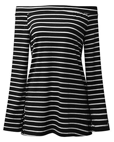 Donna Senza Tops Shirts Moda di Irregolare Lunga Camicetta C A Primaverile Autunno Blusa Casuale Lunga schwarz Righe Manica Grazioso di Spalline Magliette Spalla Vintage Parola rxO1rq