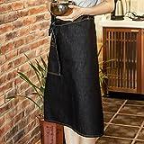 Lqchl Waitress Half Length Black Denim Apron W/ Pocket Barber Barista Florist Cafe Chef Uniform Bistro Baker Salon Spa Workwear
