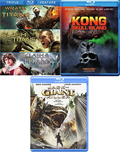 Beasts of Kong: Skull Island & Clash Wrath of the Titans + Jack the Giant Killer Movie Pack Blu Ray 5 Movie Feature -