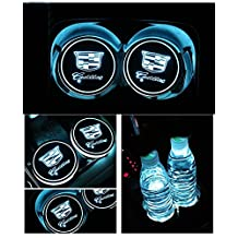 Bearfire Car Logo LED Cup Pad USB Charging Mat Luminescent Cup Pad LED Mat Interior Atmosphere Lamp Decoration Light (Cadillac)