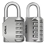 ORIA Combination Lock, 4 Digit Combination Padlock for School, Employee, Gym & Sports Locker, Case, Toolbox, Fence, Hasp Cabinet & Storage - Silver and 2 Pack