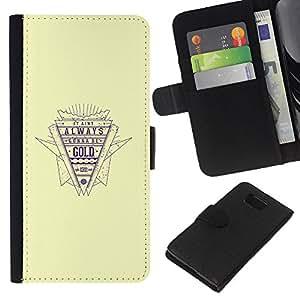 KingStore / Leather Etui en cuir / Samsung ALPHA G850 / Cita de Oro Estilo retro Lema vida ?xito