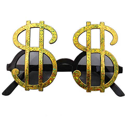 JETEHO Gold Money Dollar Signs Sunglasses Bling Fun Party Pimp Costume Novelty Glasses -