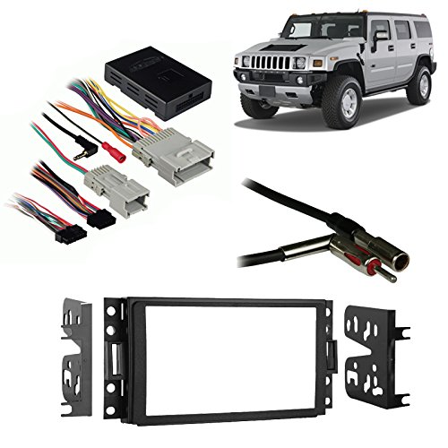 Compatible with Hummer H3 2006-2010 Double DIN Aftermarket Harness Radio Install Dash Kit by Harmony Audio