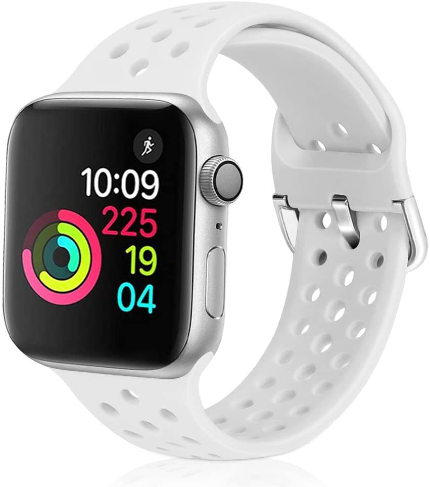 XFYELE Compatible with Apple Watch Band 42mm 44mm, Soft Breathable Sport Silicone Replacement Strap Compatible for iWatch Series 6, 5, 4, 3, 2, 1 for Women and Men (White, 42mm/44mm)