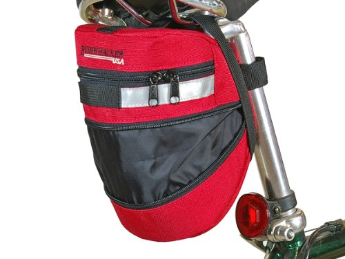 Bushwhacker Red Bicycle Expandable Wedge - w/ & Clip - Cycling Bag Rear Saddle Bag Rear