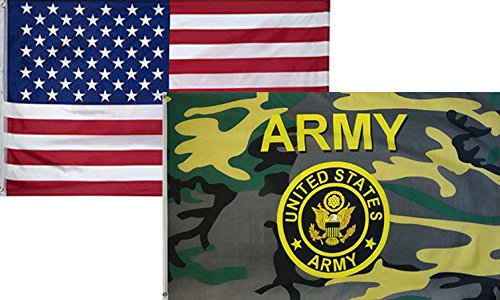 ALBATROS 3 ft x 5 ft USA American with Army Gold Seal Camouflage Flag 2 Pack for Home and Parades, Official Party, All Weather Indoors Outdoors