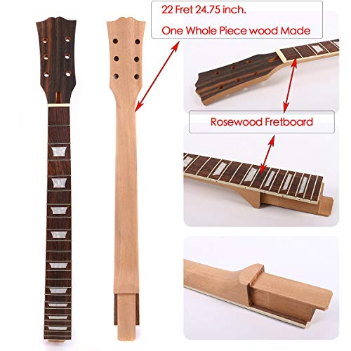 Yinfente Guitar Neck 22 fret Unfinished Mahogany Rosewood Fretboard Replacement Guitar Neck Guitar Parts