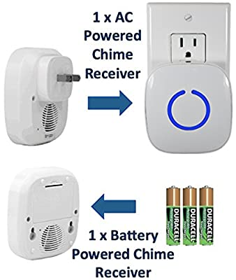 SadoTech Model CXRi Portable Wireless Door Bell Kit, Over 50 Chime Tones, over 500 ft Range [1 Remote Button, 1 Plug-In Chime & 1 Battery Powered Chime], (Various Colors)