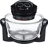 Andrew James Halogen Oven with Accessories & Recipes | 12L Cooker with Lid | Adjustable Temperature & Timer | Includes 5L Extender Ring Rack Tray & Bulb Replacement