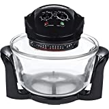Andrew James Halogen Mini Oven - 12L Electric with Adjustable Temperature Control Timer and Accessories Pack, including 17 Litre Extender Ring - 1400W