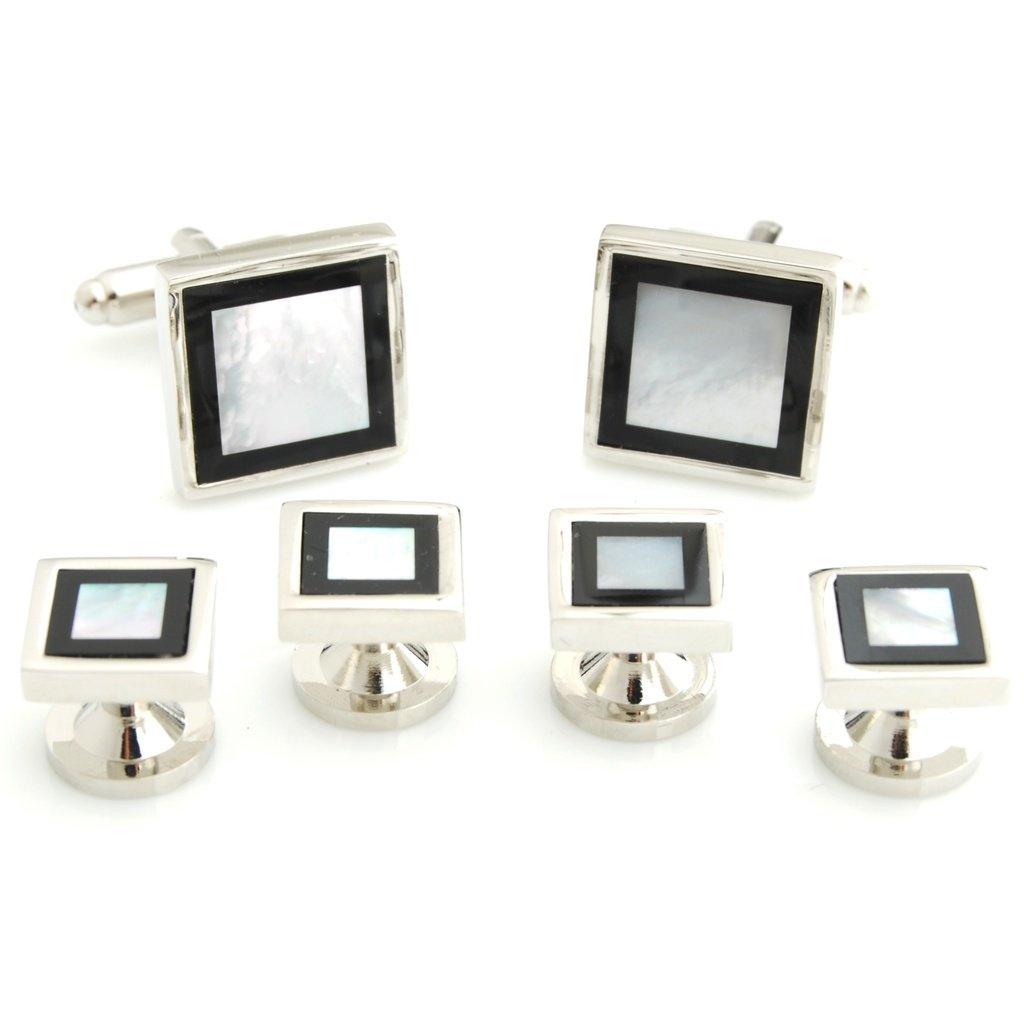 The Smart Man Elegant Black and White Stone Square Cufflinks and Tuxedo Studs Set for Mens Gift