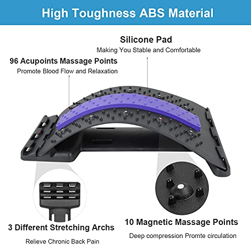 HAIYA Back Stretcher, Multi-Level Bridge Shaped Lumbar Stretcher Device, Back Massager with Magnetic Acupressure Points, Pain Relief of Sciatica, Herniated Disc and Scoliosis Spinal