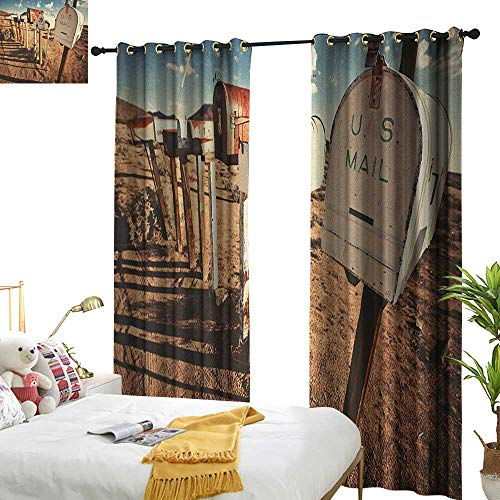 WinfreyDecor Light Luxury high-end Curtains United States Old Mailboxes in West America Rural Rusty Landscape Grunge Countryside for Living, Dining, Bedroom (Pair) W96 x L84 Brown Blue White