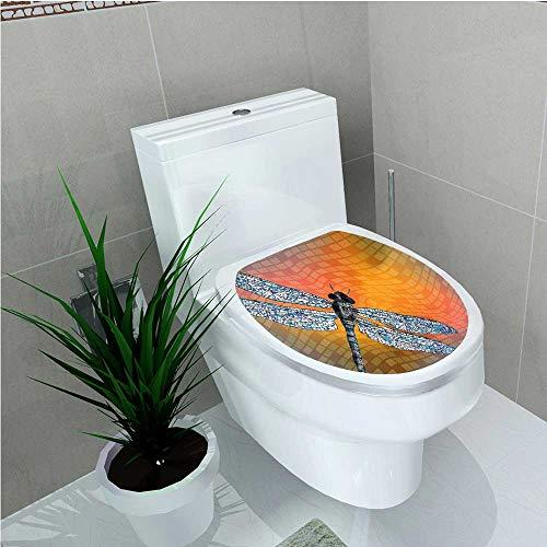 aolankaili Bathroom Removable PVC Like Bugs Flying on Orange Marigold Abstract Geometrical Digital Backdrop Multicolor W14 x L14 ()