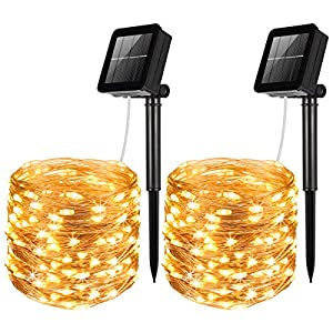 AMIR Solar Powered String Lights, 100 LED Copper Wire Lights, Waterproof Starry String Lights, Indoor Outdoor Solar Decoration Lights for Gardens, Patios, Homes, Parties (Warm White – Pack of 2)