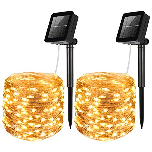 AMIR Solar Powered String Lights, 100 LED Copper Wire Lights, Waterproof Starry String Lights, Indoor/Outdoor Solar Decoration Lights for Gardens, Patios, Homes, Parties (Warm White - Pack of 2)]()
