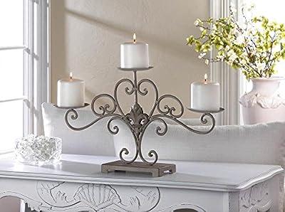 Fleur De Lis Design Candle Stand Vintage Finish Candelabra Centerpiece