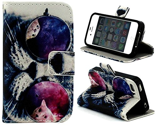 iphone 4/4S Case,Punk Cat Flip Wallet Credit ID Card Slot Holder Phone Case With Stand --Retail Package W Screen Protector