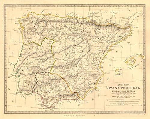 Hispania Iberia. Antiguo España y Portugal. Romano nombres y carreteras. sduk Old Map – diseño envejecido Vintage – 1845 Mapas de Iberia: Amazon.es: Hogar