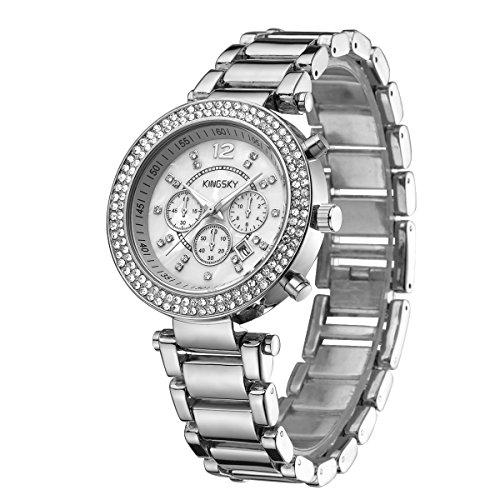 Date Diamond Wrist Watch - KINGSKY Women Watch Gold Metal Fashion Luxury Brands Japan Quartz Date Diamond Wrist Watches (Silver)