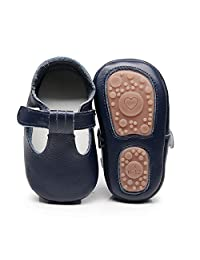 HONGTEYA Baby Boys Girls Fox Mary Jane Sandals Moccasins Shoes Rubber Sole Crib Toddler Leather Walking Prewalker (6-12 Months/US 5.5/4.92''/See Size Chart, Darkblue)