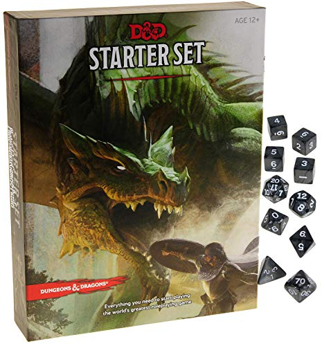 Deluxe Games and Puzzles Dungeons & Dragons Starter Set _ with Bonus Charcoal Swirl 10 Piece Dice Set _ D&D Starter Set _ Bundle