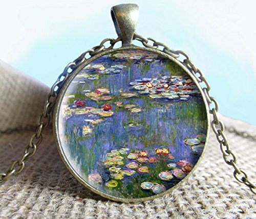 Jewelry tycoon®Claude Monet Water Lillies Painting Pendant/Necklace Jewelry, Fine Art Necklace Jewelry, Image Pendant, Glass Pendant, Gift