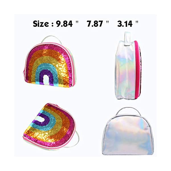 IAMGlobal Insulated Mermaid Lunch Box, Reversible Sequin Lunch Tote Bag, Lunch Box Insulated Lunch Bag For Girls Boy 9