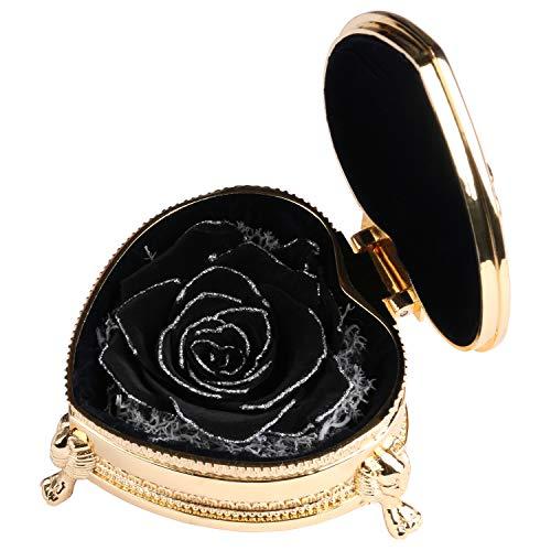 Present for Girlfriend Silver Black Rose Handmade Preserved Rose Exquisite Roses Immortal Flowers Gift for Female Birthday, Anniversary, Christmas