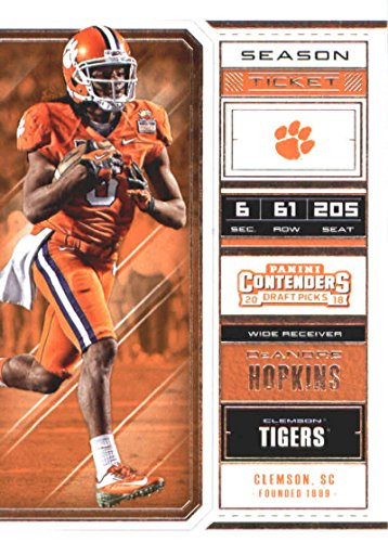 Football Tigers Tickets (2018 Panini Contenders Draft Picks Season Ticket #28 DeAndre Hopkins Clemson Tigers Football Card)