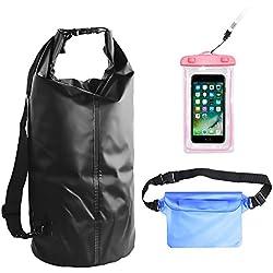 Waterproof Dry Bags Set Of 3 By YALUYA,Dry Bag With Zip Lock Seals and Detachable Shoulder Strap, Waterproof Waist Pouch & Phone Case