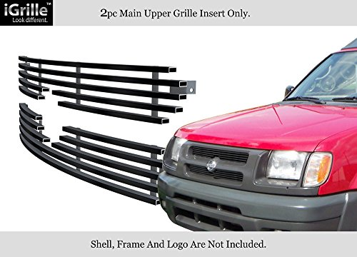 APS Compatible with 2000-2001 Nissan Xterra Black Stainless Steel Billet Grille Insert S18-J63456N ()