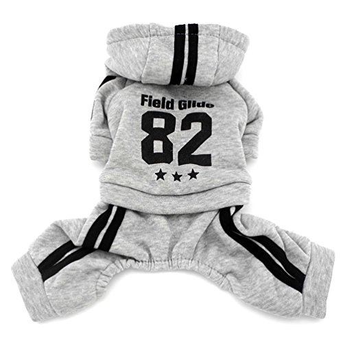 SMALLLEE_LUCKY_STORE Winter Jumpsuit Fleece Lined Sweatshirt Coat Print Pet Clothing, Small, - Sweatshirt Pet Personalized