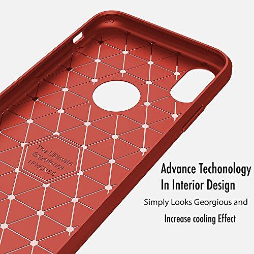 iPhone X Schutzhülle, Heavy Duty Hybrid Weich Silikon Schutzhülle, stoßfest TPU Gummi Schutz Design Karbonfaser für Apple iPhone X. by- ezzymob® rot