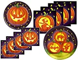 Halloween Pumpkin Silhouette Party Supply Bundle for 16 Guests - Includes Plates and Napkins