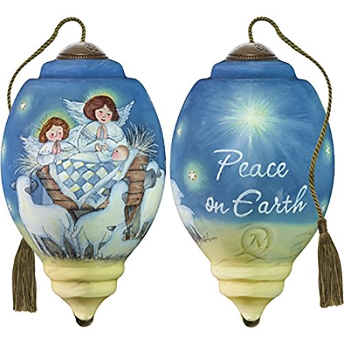 Ne'Qwa Art Hand Painted Blown Glass Peace On Earth Ornament, Nativity (Susan Winget Angel Ornament)