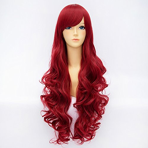 League of Legends Miss Fortune 80cm Dark Wine Red Curly Anime Cosplay Wigs