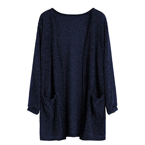 WEUIE Women Outwear Hot Sale! Women Autumn Long Sleeve Tops Blouse Loose Long Cardigan Coat Jacket Outwear (S,Blue )