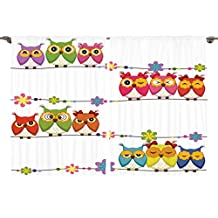 Ambesonne Girls Nursery Kids Room Birds Decor Collection, Cute Angry Amusing Owls Eyes Sitting on a String of Flowers Branch, Window Treatments for Kids Bedroom Curtain 2 Panels Set, 108X63 Inches