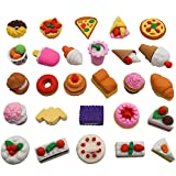 TOAOB 25pcs Puzzle Pencil Erasers Toys Pastry Food Collection Cute Novelty Toys for Kids Birthday Party Supplies Favors School Prizes and Gifts