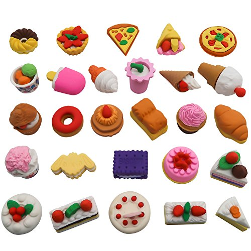TOAOB 25pcs Puzzle Pencil Erasers Toys Pastry Food Collection Cute Novelty Toys for Kids Birthday Party Supplies Favors School Prizes and Gifts by TOAOB